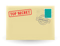 Secret correspondence the closed envelope with stamp on the white background Royalty Free Stock Photo
