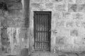 The secret door a is hidden and locked under a bridge Stock Photo