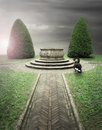 Secret garden beautiful composition outdoor of an antique park with a well and a black swan Royalty Free Stock Photos