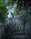 Secret garden fence gate Royalty Free Stock Photo