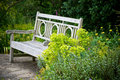 Secret garden. Garden bench Stock Photos
