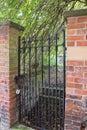 Secret garden. Iron gate with padlock at walled garden entrance Royalty Free Stock Photo