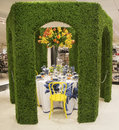 The secret garden theme flower decoration during famous macy s annual flower show new york april in department store at Stock Photo