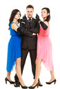 Secret investigation with two women and one man Royalty Free Stock Photo