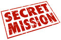 Secret mission red stamp words assignment job task in a to illustrate a classified or confidential objective or Stock Image