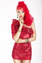 Secret. Posh Woman with Red Hair and Dress showing Silence Sign. Shush!