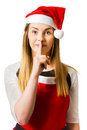 Secret santa surprise on white background Royalty Free Stock Photo