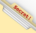 Secret word manila envelope classified files confidential inform typed on a as or information in a sensitive archive Stock Photo