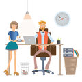 Secretary brings coffee to the boss. Man and woman in casual clothes in office interior. Vector illustration, on white