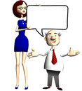 Secretary holds speech bubble for businessman boss Royalty Free Stock Photo