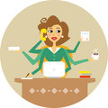 Secretary personal assistant or hard working symbol vector illustration Royalty Free Stock Photography