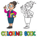 Secretary or receptionist woman. Coloring book