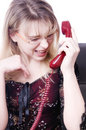 Secretary screaming in telephone Stock Photo