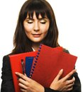 Secretary young woman with folders in her hands Stock Image