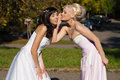 Secretive two brides blonde and brunette Stock Photography