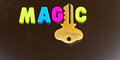 Secrets of magic unlocked text in colorful uppercase letters with the letter i replaced by a gold key on dark background possible Stock Images