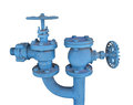 Section of old pipes and valves isolated. Royalty Free Stock Photo