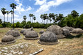 A section of the 20 visible stupas at Kathurugoda Ancient Vihara. Royalty Free Stock Photo