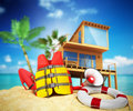 Secure beach concept Life jacket life ring and a horn and other