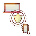 Secure connection laptop computer and smartphone device icon. Royalty Free Stock Photo