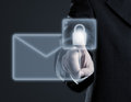 Secure email concept on virtual touch screen Royalty Free Stock Photo