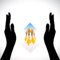 Secure family people icons hand silhouette protection concept illustration contains symbols home residence parents children hand Stock Photo