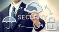 Secure online cloud computing concept with businessman Royalty Free Stock Photos