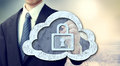 Secure online cloud computing concept with businessman Royalty Free Stock Images