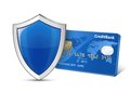Secure payment concept credit card and shield vector illustration Stock Image