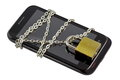 Secure smartphone and tablet with a chain locked with padlock. Image hinting modern secured technology. White background Royalty Free Stock Photo