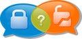 Secure unsecure conversation negotiation argument illustration c concept clipart speech bubble dialog security locked unlocked Stock Photography