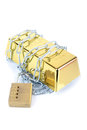 Secured gold bar bullion ingot chained up with padlock concept of money Stock Images