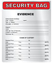Security bag plastic for the collection and storage of evidence vector illustration Stock Photos