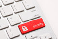 Security button key red on the keyboard Stock Photo