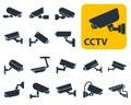 Security camera icons, video surveillance