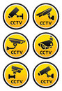 Security camera pictogram, set CCTV round signs Stock Images