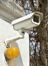 Security camera and safty light at the entrance Royalty Free Stock Photo