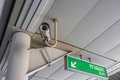 Security camera surveillance inside of sky train station Stock Images