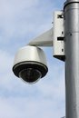 Security camera to monitor the crossings citizens and supporters of the stadium Stock Photos