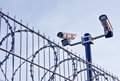 Security cameras over fence mounted a steel and barbed wire Stock Image