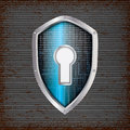 Security concept blue shield with rusty metal background Stock Photography