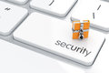 Security concept d illustration of chrome combination lock with folder on the computer keyboard Stock Photo