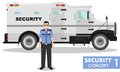 Security concept. Detailed illustration of armored car and security guard on white background in flat style. Vector Royalty Free Stock Photo