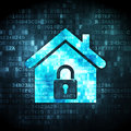 Security concept home on digital background pixelated icon d render Stock Image