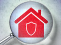 Security concept: Home with optical glass on Royalty Free Stock Images