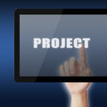 Security concept protect on tablet pc screen pixelated words Royalty Free Stock Photo