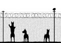 Security editable vector silhouette of guard dogs behind a chainlink fence with barbed and electric wire plus camera with Royalty Free Stock Image