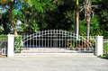 Security gate sliding residential system Stock Photos