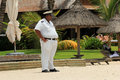 Security guard on the beach mauritius strict in africa Stock Images