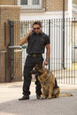 Security guard on the radio a with german shepherd dog talking walkie talkie Royalty Free Stock Image